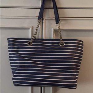 Navy & white stripped purse